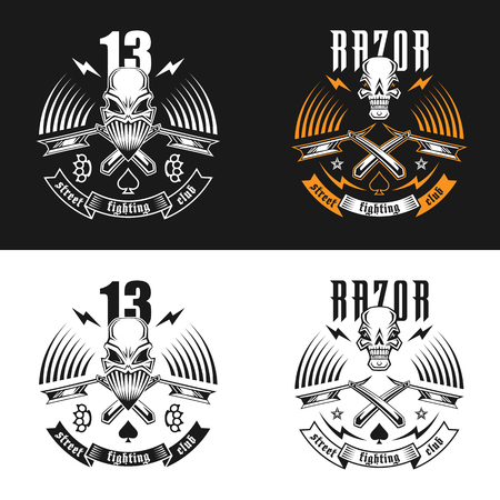 gangsta: Vector illustration street fighting club emblem with skull, brass knuckles, razors, stars and inscription. Street fighting club 13. Razor. Illustration