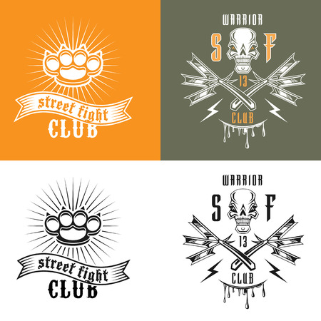 straight razor: Vector illustration street fighting club emblems with skull, brass knuckles, razors and inscription. Street fighting club. Warrior 13.
