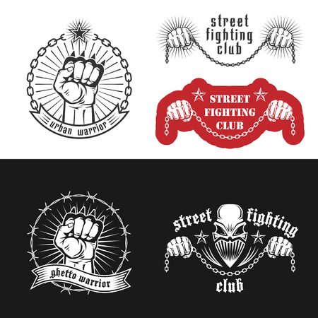 """fighting: Ilustración vectorial de calle emblemas del club de lucha con el cráneo, puños americanos, estrellas e inscripciones. """"Street Fighting club. Guerrera urbana. Ghetto guerrero."""""""