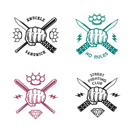 """peleando: Ilustración vectorial de calle emblemas del club de lucha con el puño, cuchillo, latón nudillos, los bits y las inscripciones. """"Street club de lucha. Bocadillo del nudillo. No hay reglas""""."""