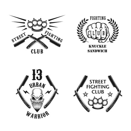 straight razor: Vector illustration street fighting club emblems with skull, fist, razor, brass knuckles and inscriptions. Street fighting club. 13 urban warrior. Knuckle sandwich.