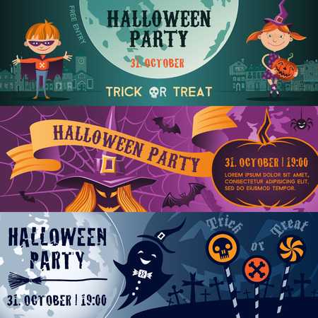 Vector concept Halloween party flat banner set. Halloween party flayer, poster. Children, witch, brooms, ghost and pumpkin. Illustration