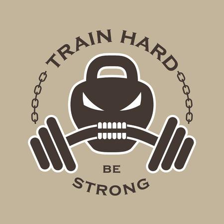 """calavera: Vector emblema con la aptitud de peso en la forma del cráneo, pesas, la cadena y la inscripción: """"El tren difícilmente sea fuerte"""". Vectores"""