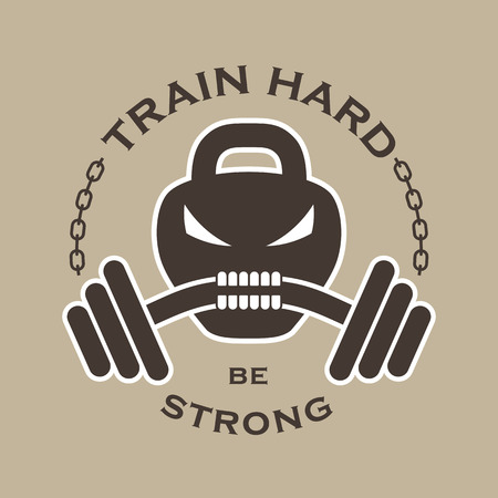 skull: Vector fitness emblem with weight in the form of the skull, dumbbells, chain and inscription: Train hard be strong. Illustration