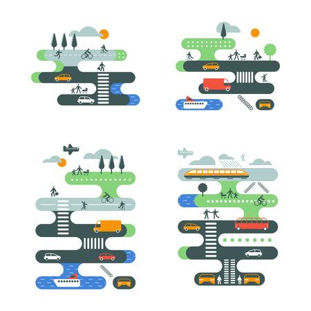 交通: フラット ベクトル図都市交通インフォ グラフィックを設定します。