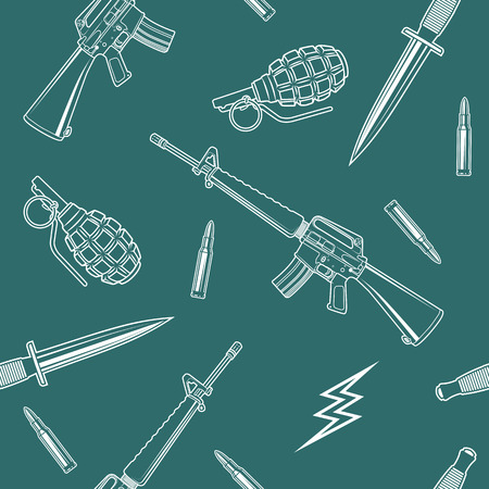 special forces: Special forces vector seamless pattern with a rifle, knife, grenades, cartridges and lightning.