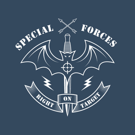 """Military vector emblem with a bat, dagger, lightning and inscriptions: """"Special forces. Right on target""""."""