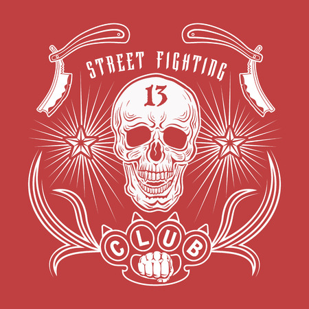 straight razor: Vector illustration street fighting club emblem with skull, brass knuckles, razors, stars and inscription. Street fighting club 13.