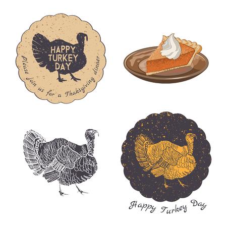 感謝祭の招待状カード ベクトル デザイン要素です。バッジ、シルエットとビンテージ スタイルのラベル。
