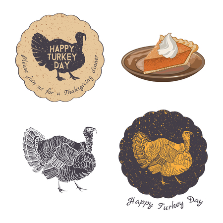 Thanksgiving Day invitation card vector design elements. Badges, silhouette and labels in Vintage Style.