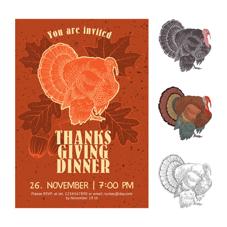 turkey: Thanksgiving Day invitation card vector design with turkey on the background of the leaves of oak and maple.