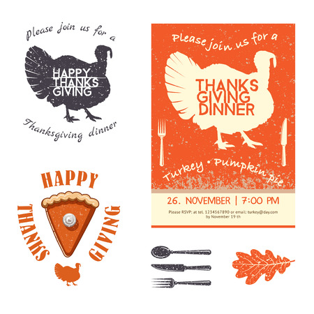 gobble: Thanksgiving Day invitation card vector design elements. Badges, silhouette and labels in Vintage Style.