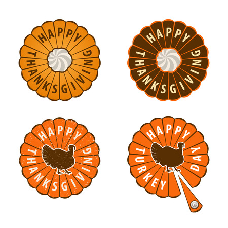 gobble: Thanksgiving Day vector design elements. Badges, silhouette and labels in Vintage Style. Illustration