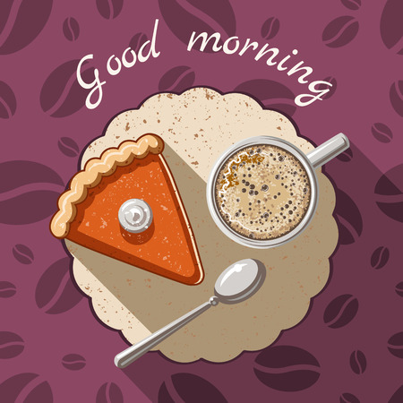 morning: Vector flat illustration Good morning. A piece of cake and a cup of coffee on background with coffee beans.