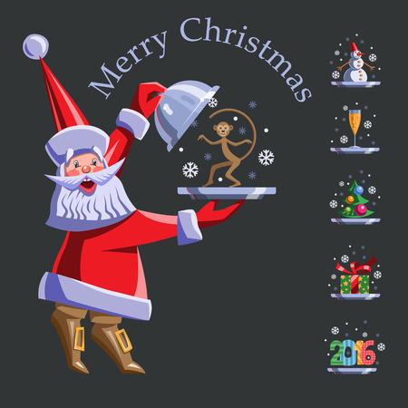 Vector flach Illustration festgelegt. Weihnachtsmann mit einem Tablett. Auf dem Tablett - Baum mit Luftballons, Affe, Schneemann, Geschenk, Glas Champagner, die Zahlen im Jahr 2016. Standard-Bild - 48997576