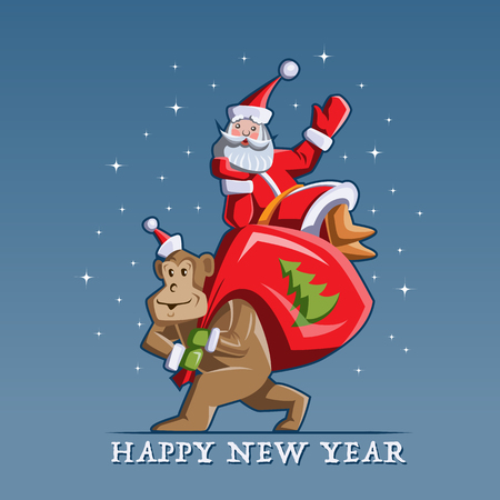 humorous: Humorous Chinese New Year vector flat illustration. Santa Claus sitting on a bag with gifts, which carries the monkey.