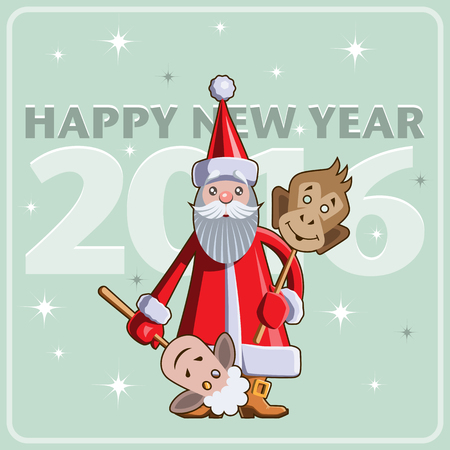 year of sheep: Chinese New Year vector flat illustration. Santa Claus with masks sheep and monkey. Illustration