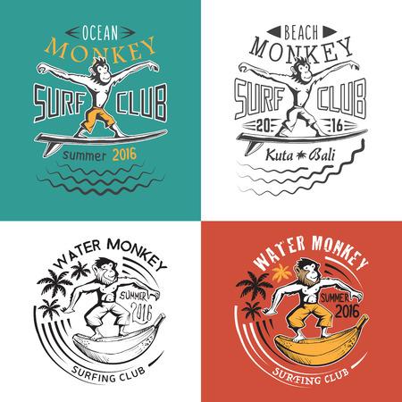 t shirt print: Monkey surfing club. Set of vector emlems for t shirt print.