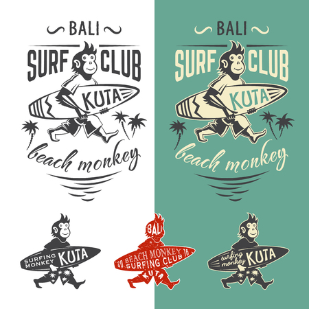 surfing waves: Monkey surfing club. Set of vector emlems for t shirt print.