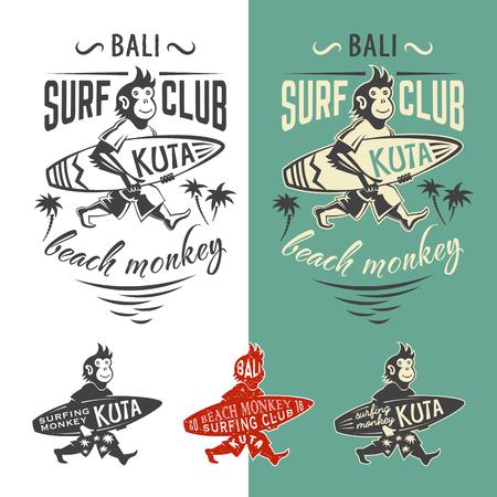 cartoon surfing: Monkey surfing club. Set of vector emlems for t shirt print.