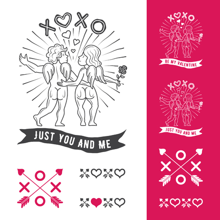 xoxo: Valentines Day vector illustration. Angel boy and angel girl embracing. Inscriptions: XOXO and JUST YOU AND ME.