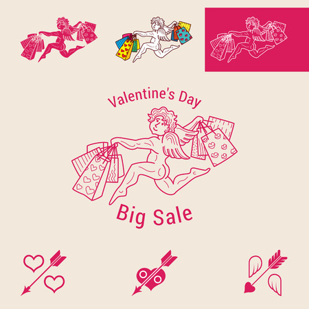 big sign: Valentines Day big sale vector comic illustration. Angel runs with shopping bags. The percent sign in the form of hearts and arrow, wings and arrow.