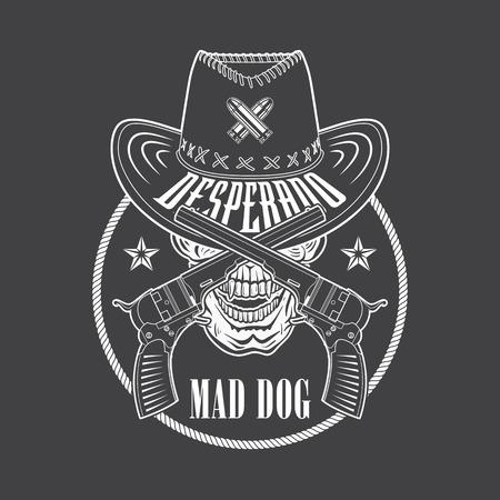 desperado: Desperado cowboy emblem with a hat, guns, rope and skull. Vector emblem for t shirt print.