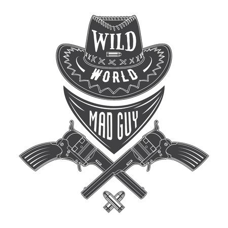 t shirt print: Mad guy cowboy emblem with a hat, guns, cravat and ammunition. Vector emblem for t shirt print.