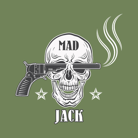 t shirt print: Mad Jack cowboy emblem with revolver, skull and stars. Vector emblem for t shirt print.