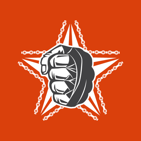 t shirt print: Vector illustration street fighting club emblem with star, fist and chain for t shirt print.