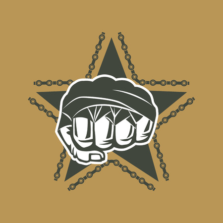 the gang: Vector illustration street fighting club emblem with star, fist and chain for t shirt print.