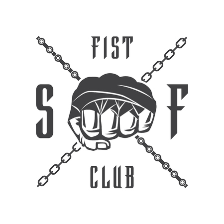 t shirt print: Vector illustration street fighting club emblem with fist and chain for t shirt print.