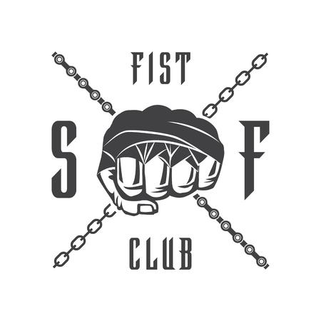 Vektor-Illustration Straßenkampf Vereinsemblem mit der Faust und Kette für T-Shirt Druck. Vektorgrafik