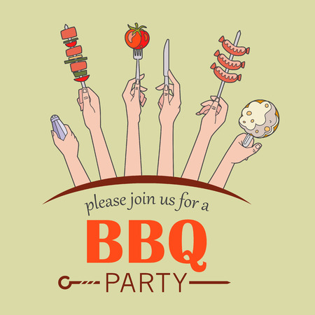 Bbq party invitation card vector illustration hands holding bbq party invitation card vector illustration hands holding the various elements of a barbecue party stopboris Image collections