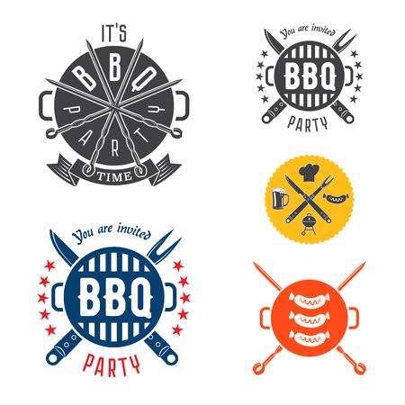 invitación a fiesta: Vector de elementos de diseño de barbacoa para la tarjeta de invitación o un volante o un cartel. Vectores