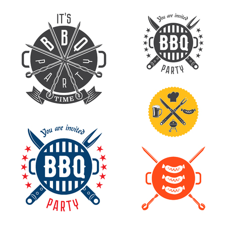 Vector set barbecue design elements for invitation card or flyer or poster.