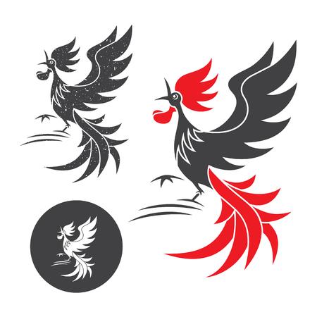 animal cock: Canto del gallo. Vector silhouette del gallo su sfondo bianco e nero.