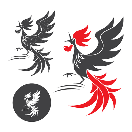 Cock crow. Vector silhouette of the rooster on white and black background. Illustration