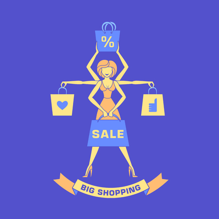 shiva: Young girl with shopping bags. Shopping shiva. Flat style illustration.