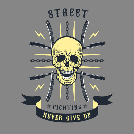 straight razor: Colored illustration street fighting club emblem. The skull on the background of the cross of razors and chains.
