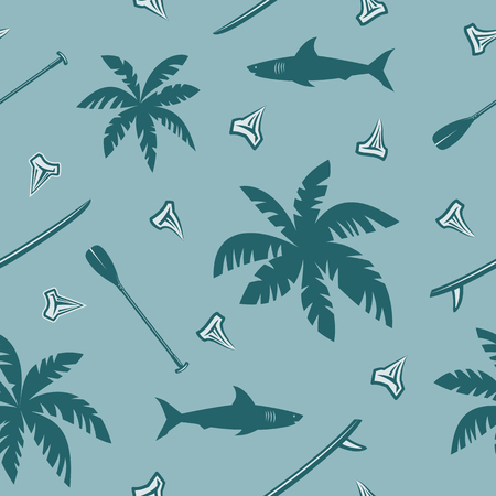 shark teeth: Tropical surfing seamless pattern with leaves of palm trees, shark, shark teeth, surf boards and paddles