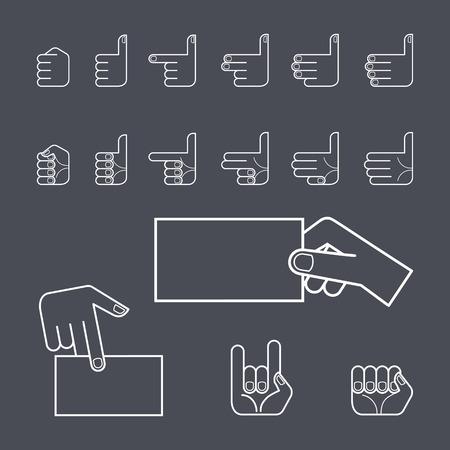 gesture set: Hand gesture icon set. line illustration. White lines on a dark background.