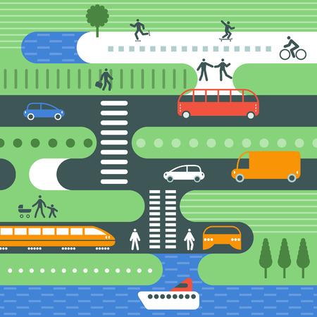 city traffic: Flat illustration city traffic.