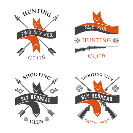 sly: Hunting club Sly Fox emblems set.