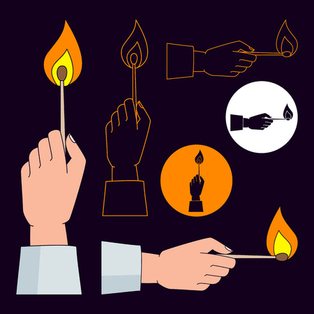 color match: Hand holding burning match icons set. Color, monochrome and outline. Illustration
