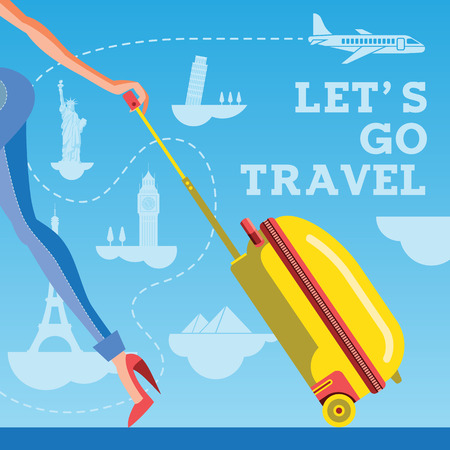 Lets go travel. Girl with a suitcase against the backdrop of sights and aircraft. Vacations and tourism concept background, vector illustration.