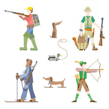 fusil de chasse: les images vectorielles définies. Les chasseurs avec fusil et arc. Illustration