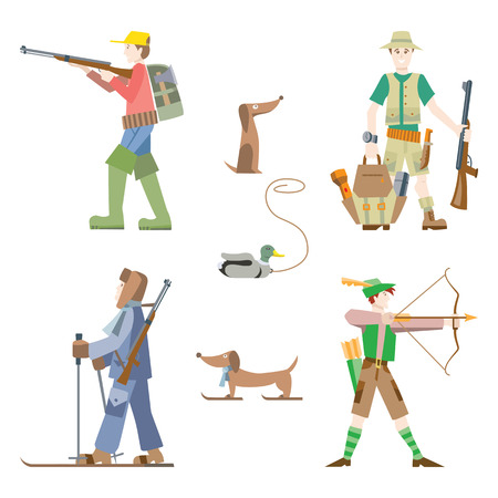 white bow: Vector images set. Hunters with gun and bow.