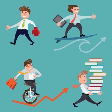 Businessman set. Cartoon vector illustration.