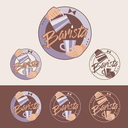 Barista vector emblem. Color and monochrome versions.